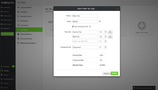 TradeGecko New Tax Type Feature 1