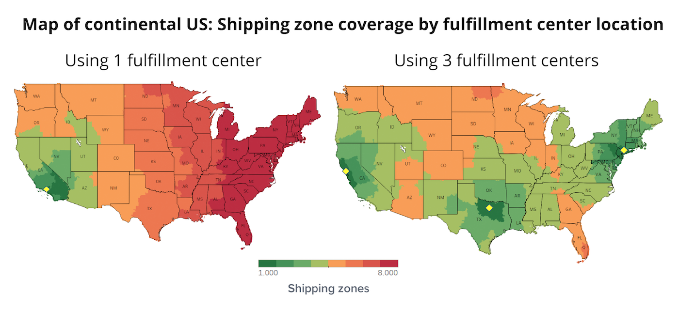 Comparing 1 vs 3 fulfillment center locations