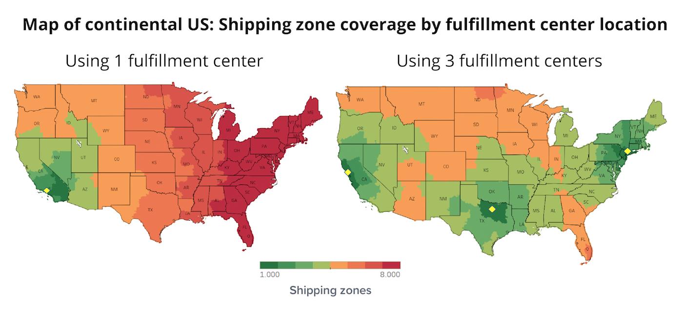 Comparing 1 vs 3 fulfillment center locations
