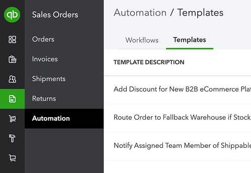 QuickBooks Commerce Automation Templates