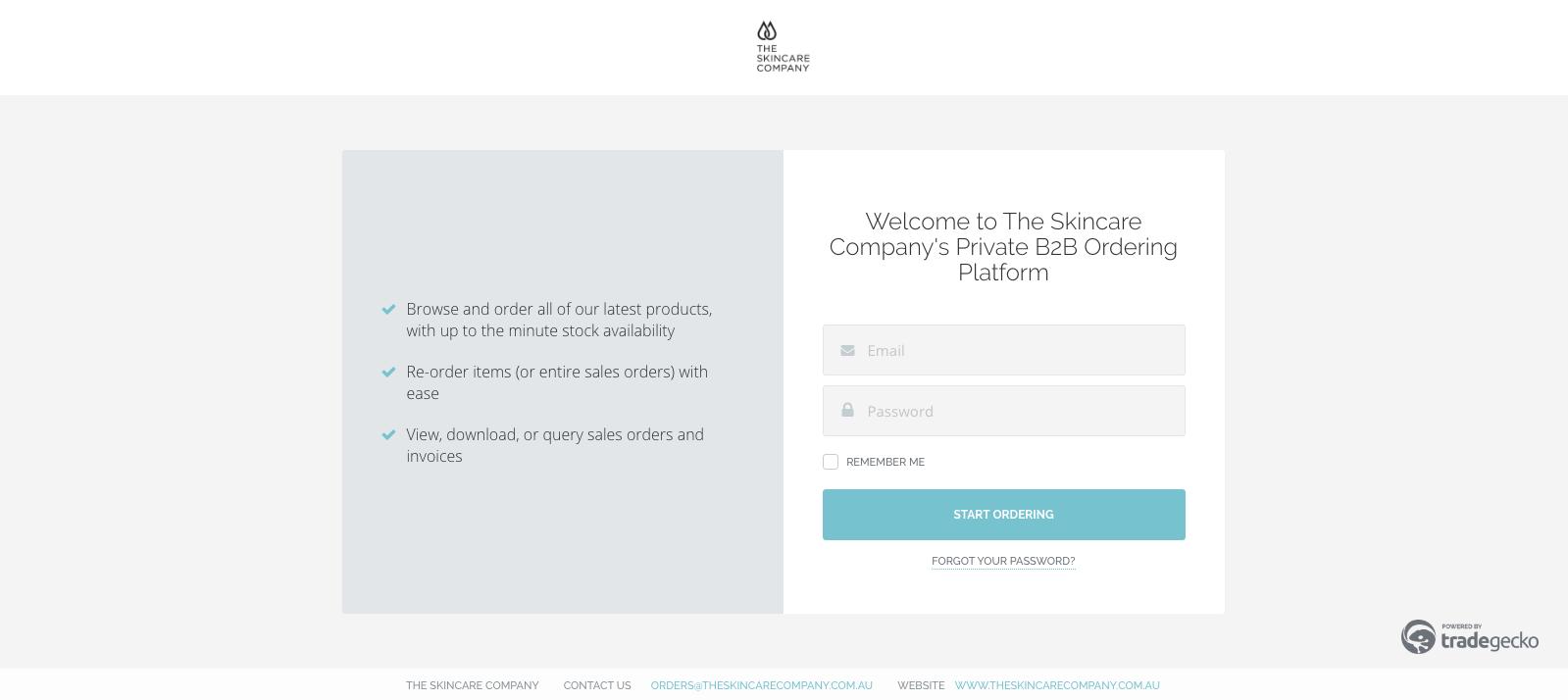 The Skincare Company B2B eCommerce Platform