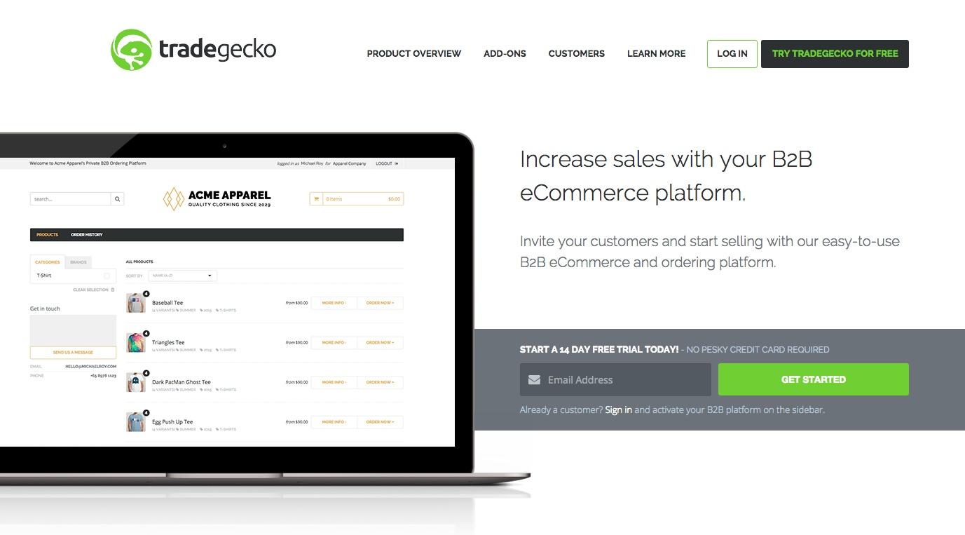 TradeGecko's B2B eCommerce platform