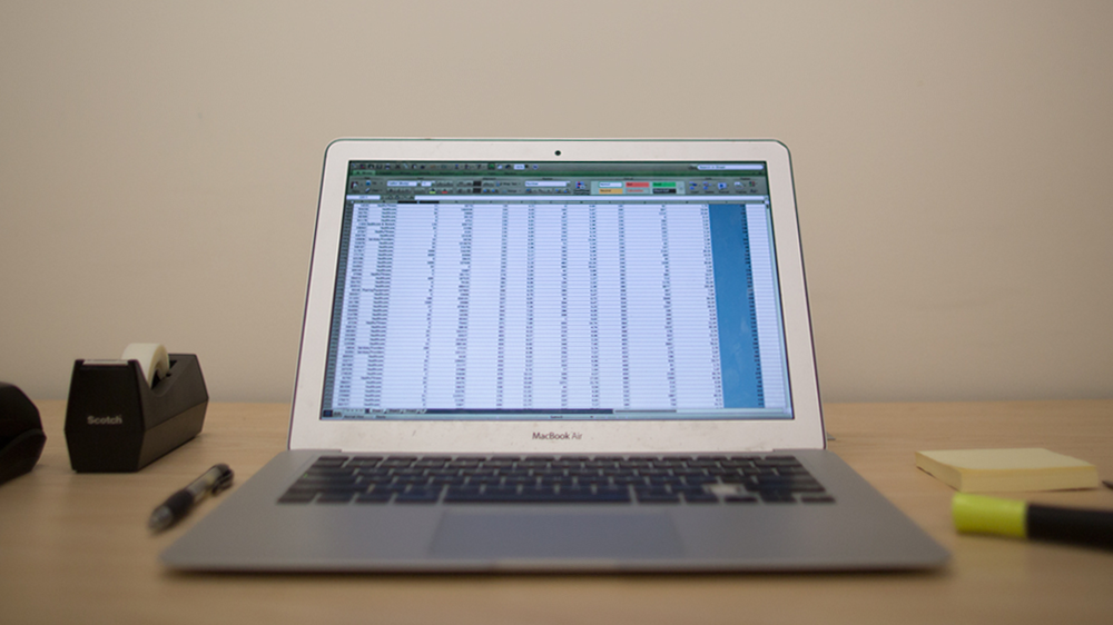 Mac Book Pro with Excel - Inventory Spreadsheet