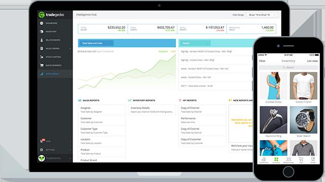 Dashboard of Tradegecko's wholesale management software
