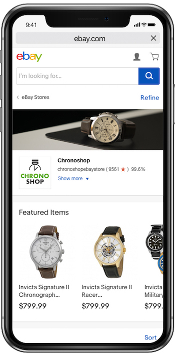 eBay Stores shopping experience in mobile