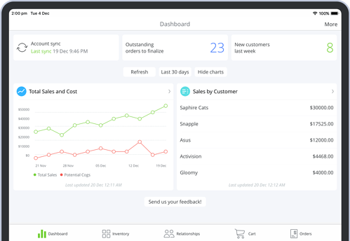 TradeGecko Mobile Inventory Management Reports
