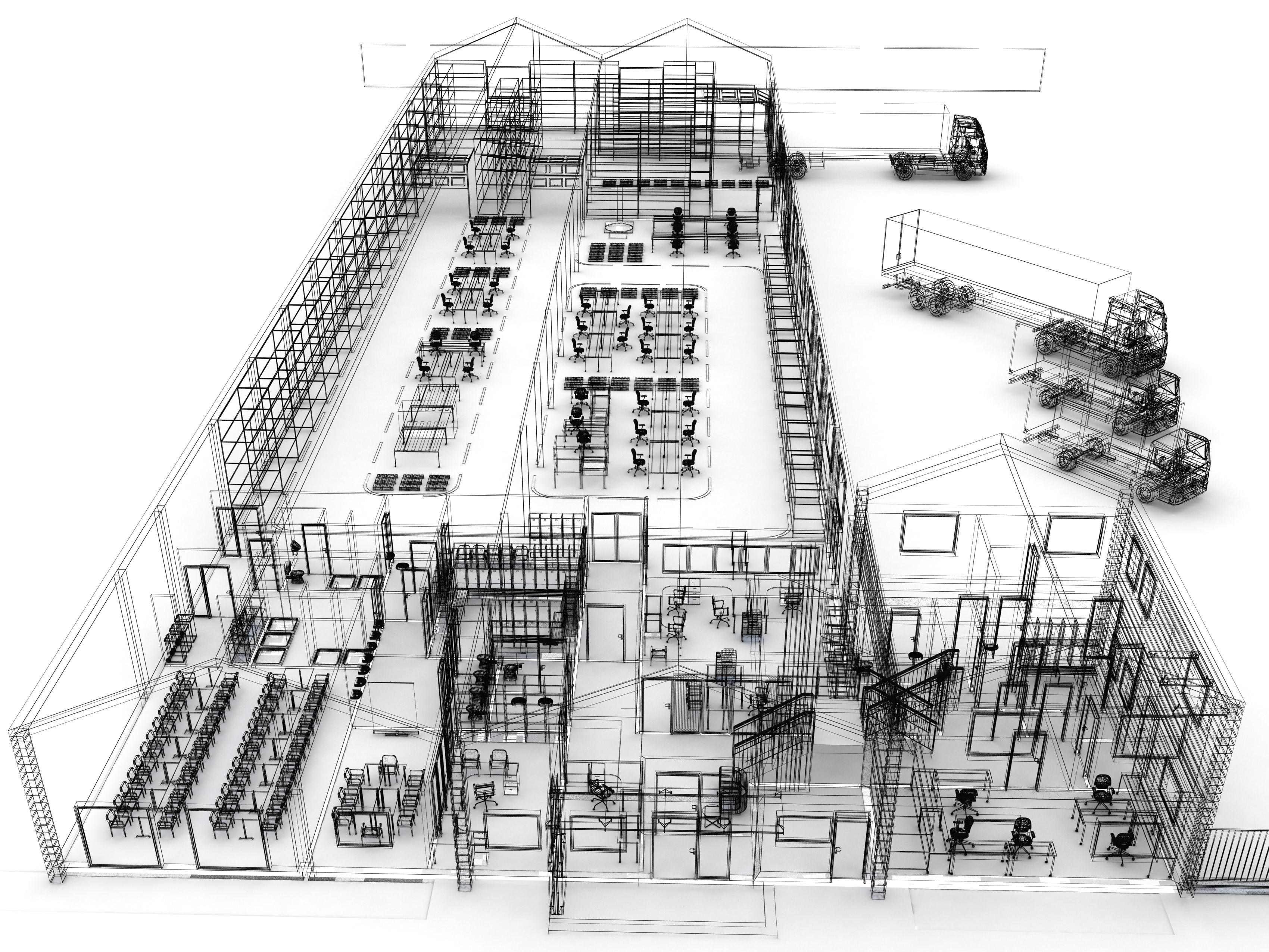 warehouse layout design illustration