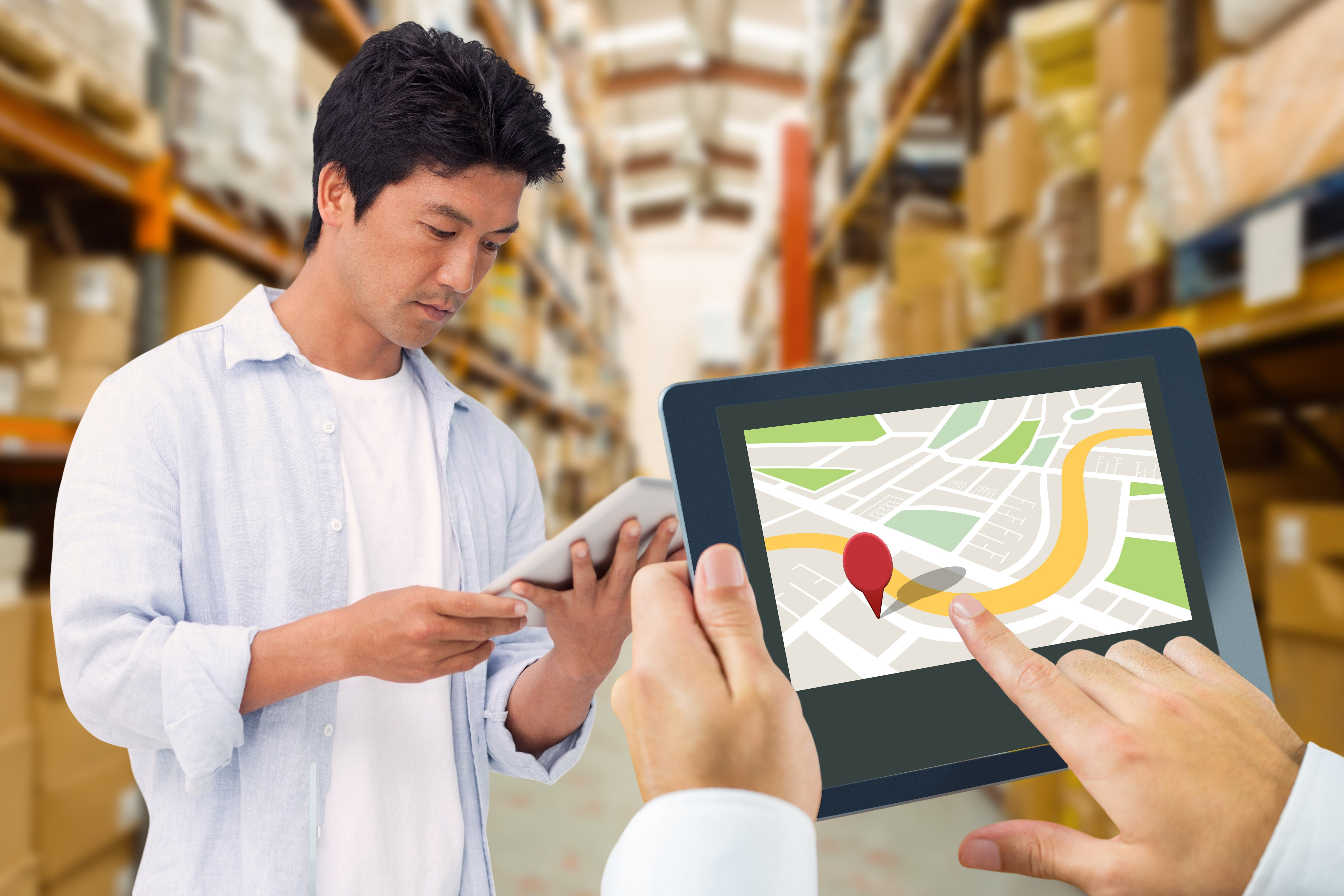Man using tablet selecting a warehouse location