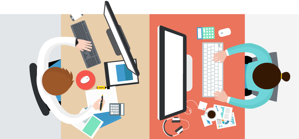 Wholesaler on his desk using Tradegecko's B2B Ecommerce platform
