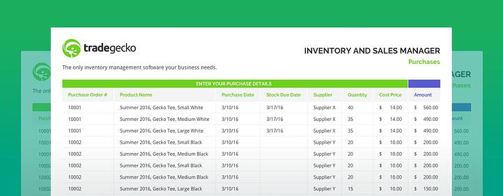 sales management tools templates - free inventory spreadsheet tradegecko