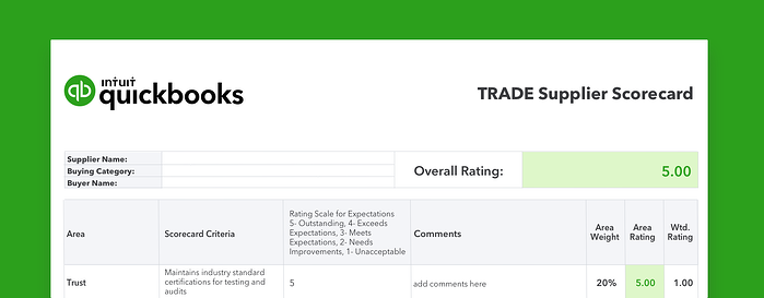 Trade Supplier Scorecard