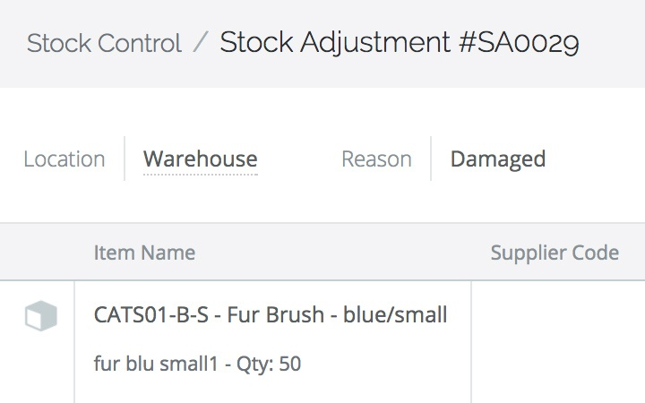 Stock adjustments with batch tracked inventory