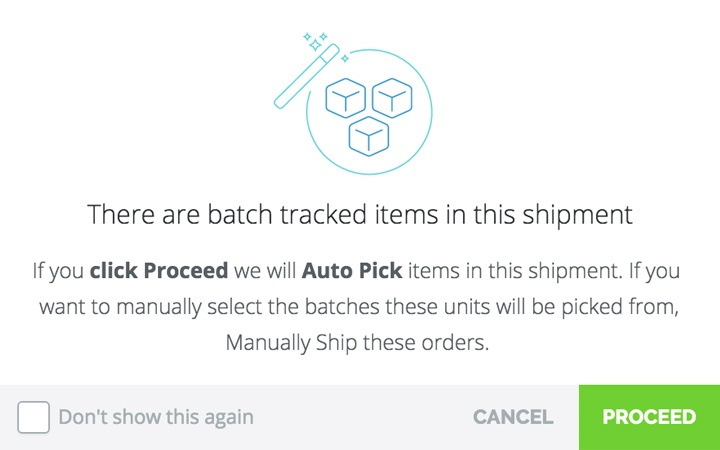 Sell batch tracked inventory using sales orders: Screenshot of the platform