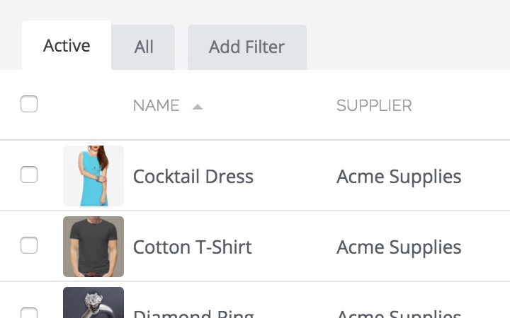 inventory control features:inventory list