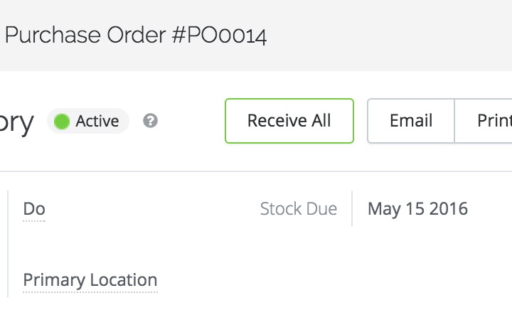 inventory control features:stock on hand and received purchased orders