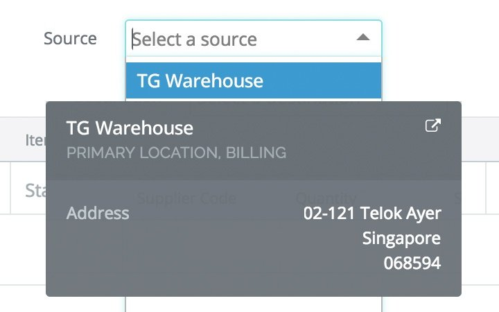 Warehouse management features:stock transfer