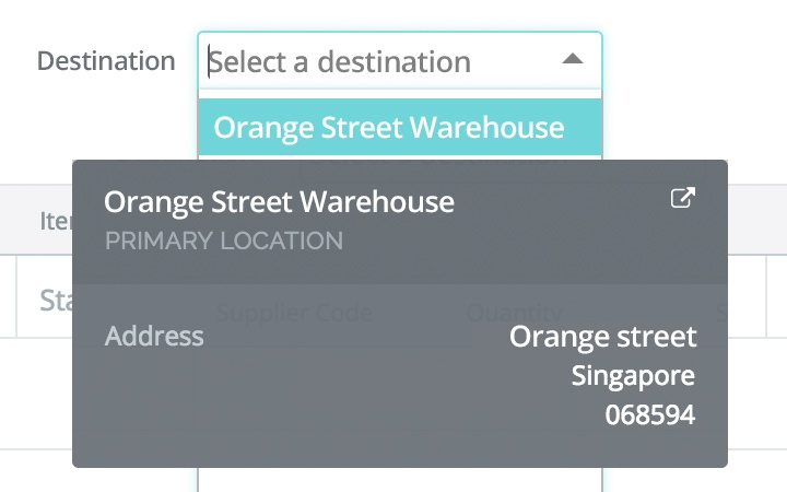 Warehouse management features:receive stock