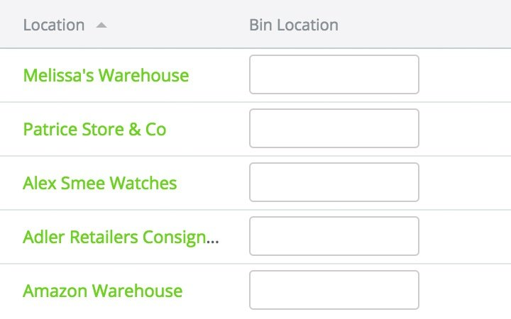 Warehouse management features:bin locations