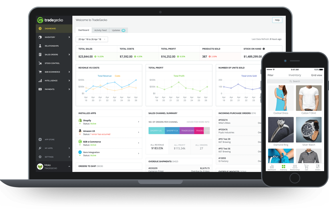 TradeGecko inventory and order management software