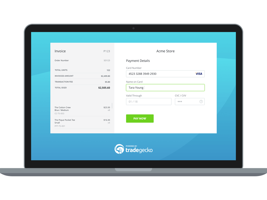 TradeGecko credit card payments
