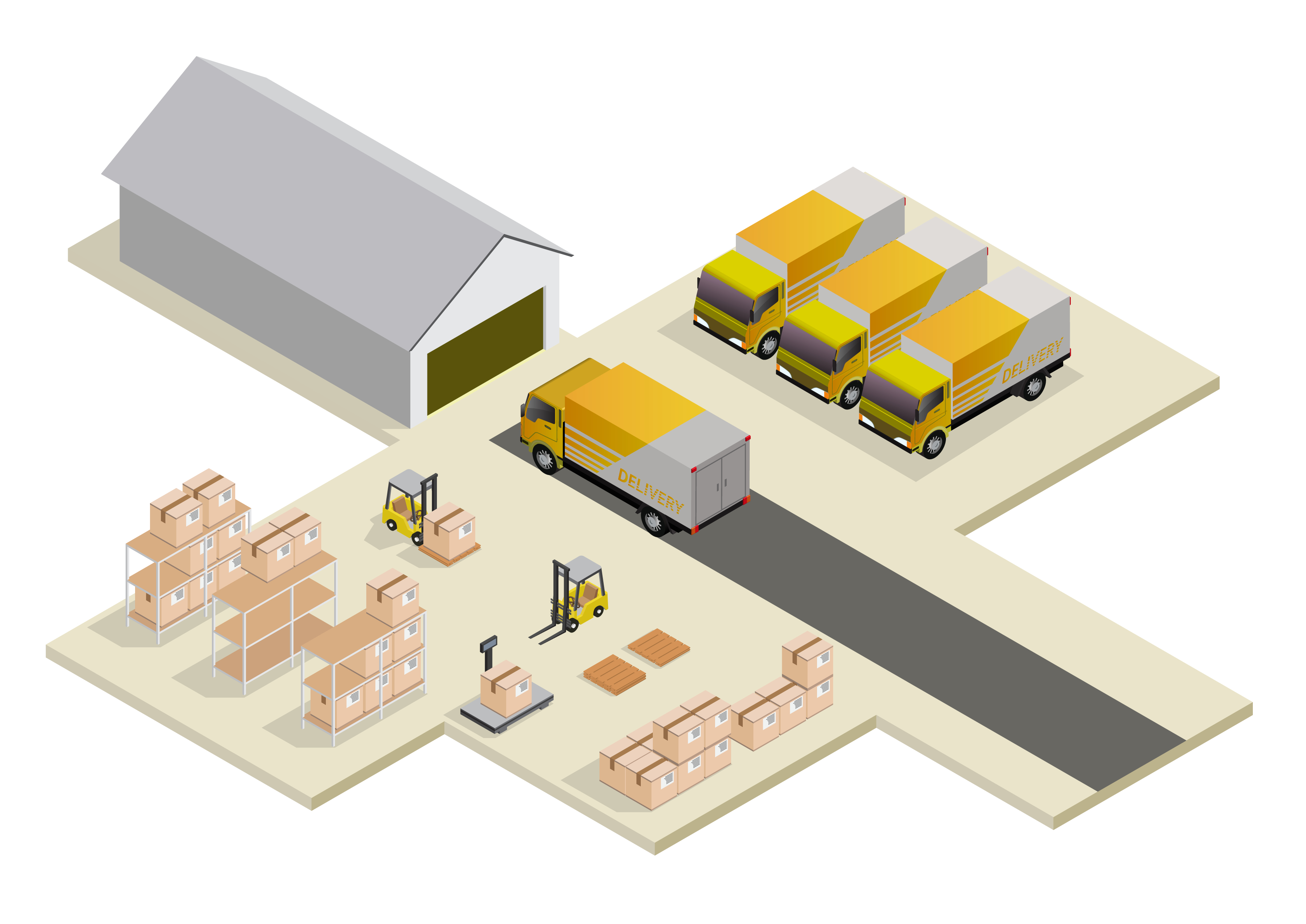 warehouse and truck illustration