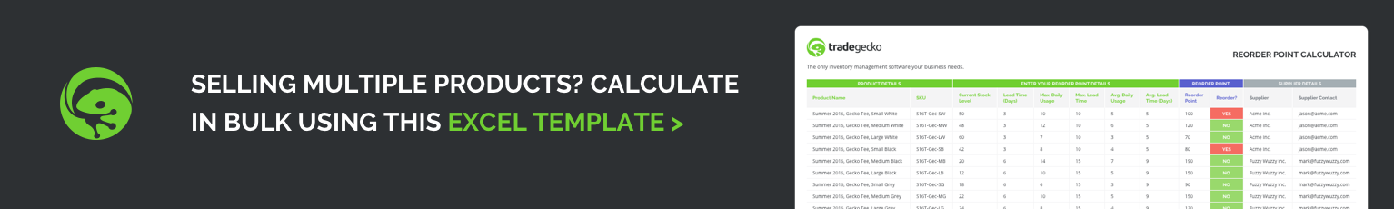 Reorder Point Excel Calculator Download